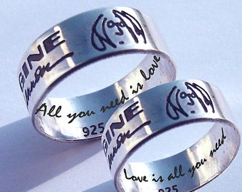 Wedding ring, couples ring, John Lennon, BEATLES, Imagine, always and forever, personalized jewelry, personalized ring, musician ring