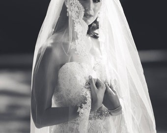 Cathedral French Alencon LACE Edge Veil