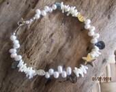white freshwater pearl bracelet, white coral bracelet, wedding jewelry, hawaiian beach bracelet