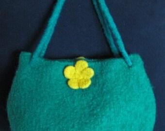 Jade Green Felt Handbag with a Felted Buttercup Decoration