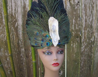 Louisiana Oyster Feathered Headdress