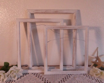 White Rustic Shabby Chic Dressed Wood Frame Set Up Cycled Vintage Wood Collection French Country Farmhouse Beach Cottage Home Decor Gift Her