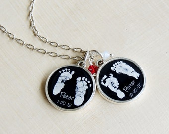Baby Footprint Necklace - Mother's Necklace - Baby's Footprints - Footprint Jewelry - New Mom - Mommy Necklace - Infant Loss