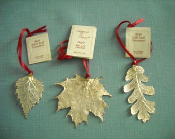 Pure Silver Leaves Christmas Ornaments