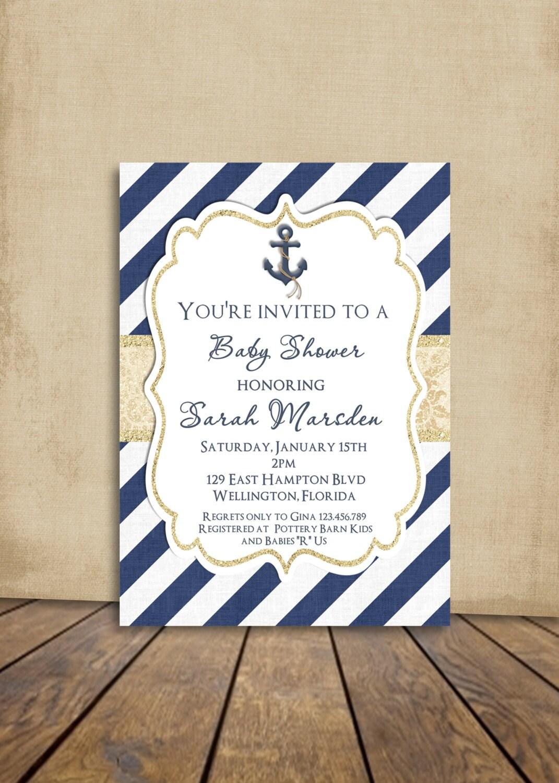 Nautical Baby Shower Invitation Nautical Invite Anchor