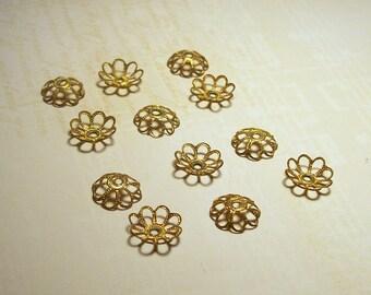 Vintage Brass Lacy Flower Beadcaps - 8mm - (12)