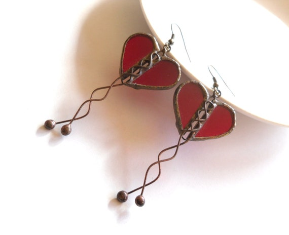 R E S E R V E D Heart earrings, contemporary earrings, transparent stained glass, artistic, copper wire jewelry, red dangle earrings, Love