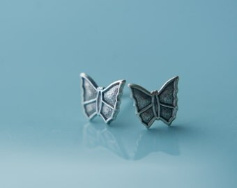 Butterfly Earring Studs, Available in Antiqued Silver and Gold, Stainless Steel Posts