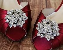Rouge Red Wedding Shoes / Red Kitten Heel Peeptoes / Silver Brooch Shoes / Low Heel Wedding Shoes / Design My Bridal Heels / Peeptoe