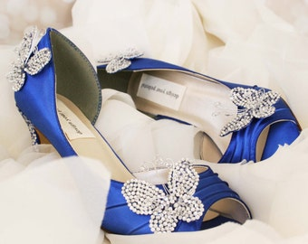 Butterfly Wedding Shoes -- Royal Blue Peep Toe Wedding Shoes with Silver and Blue Crystal Heel, Crystal Butterflies and Message on Sole