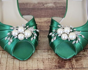 Green Wedding Shoes, Kitten Heels, Bridesmaids Shoes, Green Shoes, Custom Wedding Shoes, Simple Wedding Shoes, Peep Toes, Green Wedding