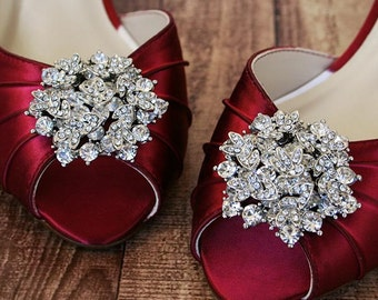 Wedding Shoes, Red Wedding Shoes, Red Kitten Heel Peeptoes, Silver Brooch Shoes, Low Heel Wedding Shoes, Custom Wedding Shoes, Red Wedding
