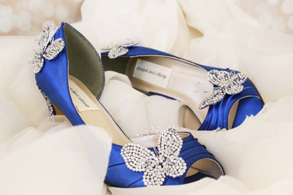 Wedding Shoes Royal Blue Kitten Heel Peep Toe Wedding Shoes