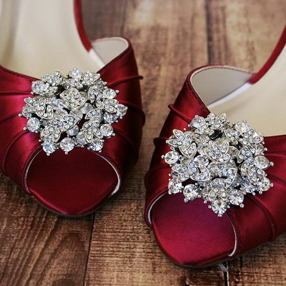 Wedding Shoes Red Wedding Shoes Red Kitten Heel Peeptoes