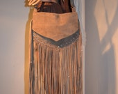 Leather Fringe Pouch Purse Hippie Bag With Side Pocket Chocolate Brown 8x11