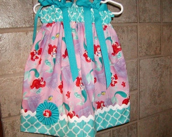 Girls Dress Pillowcase...Ariel Soft Pink Little Mermaid...Custom. sizes 0-6, 6-12, 12-18, 18-24 months, 2T, 3T..Bigger sizes AVAILABLE