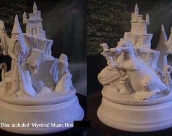 Fantasy music box, Wizard, Dragon Music box, Childrens music box, ready to paint,u-paint,ceramic bisque