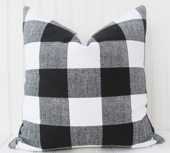 Black and White Buffalo Check Pillow Cover-Throw Pillow-Decorative Pillow-Cushion Cover - Black and White Checkered Plaid Buffalo Check