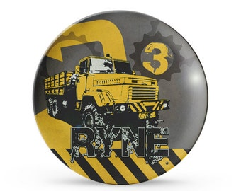 Personalized Melamine Plate, Personalized Construction Plate, Childrens Dump Truck Birthday Plate
