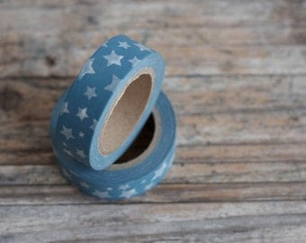 Japanese Washi Tape - Masking Tape roll in White Stars on Blue Tape