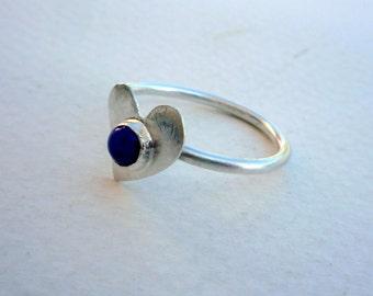 Stacking Sterling Silver Ring, Lapis Lazuli Ring,Sterling Silver Stacking Ring, Blue Gemstone Ring,Modern Ring, Heart Sterling Silver Ring