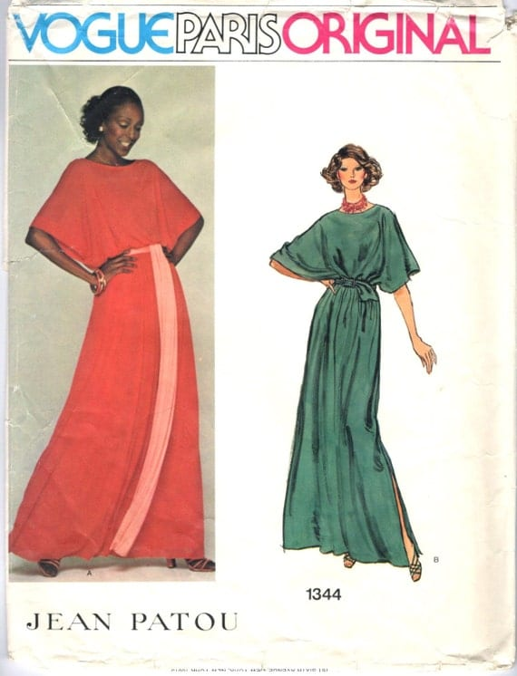 1970s Jean Patou lounge dress pattern feat. Billie Blair - Vogue Paris Original 1344