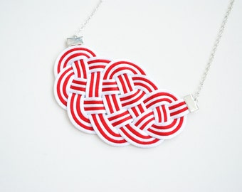 Red and white necklace, sailor knot necklace, rope necklace, nautical neckalce, stripes necklace, spring trends, mother's day gift, macrame