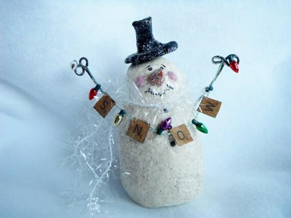 Bonhomme de neige papier m ch figurine art sculpture neige - Bonhomme de neige en papier ...