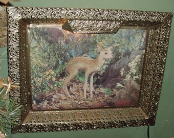 Vintage 1940's Lighting Fawn Deer Electric Wall Hanging Standing Metal Framed Light 3-D Picture~