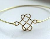 Gold Celtic Bangle Celtic Bracelet Gold Knot Charm - Stackable Bangle Charm Bracelet - Bridesmaid Gift - Gift under 15