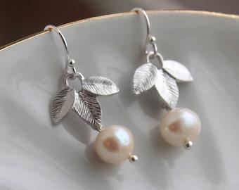 Silver Freshwater Pearl Earrings - Silver Leaf Earrings - White Pearl Jewelry -Pearl Bridal Earrings Bridesmaid Earrings - Wedding Jewelry