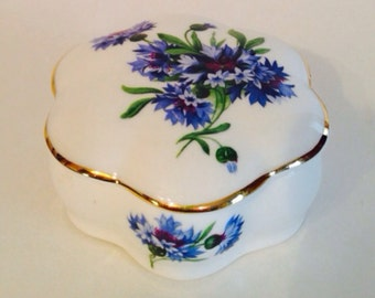 Ammersley Bone China Trinket Box hexagon Blue Flowers on White