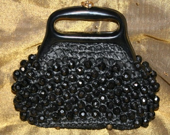 Vintage Black Beaded Purse Italy
