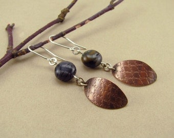 Copper Textured Leaf Earrings with Picasso Marble Beads