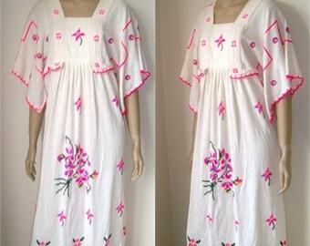 Authentic 1960s Boho Flowerchild Hippie Dress