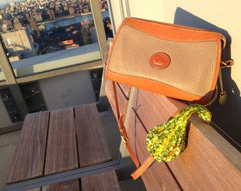 Dooney & Bourke Vintage Classic Zip Top in Camel and Beige All Weather Leather