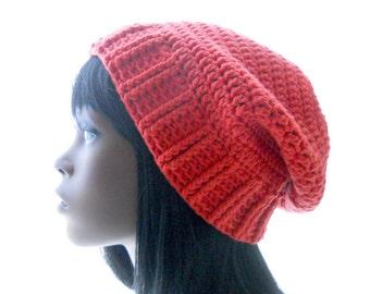Crochet Slouchy Hat, Cotton - Blend Beanie Hat, Terra Cotta Slouchy, Hat for Men, Hat for Women, Extra Large Size