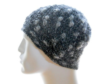 Crochet Beanie Hat, Alpaca - Wool Hat, Gray Unisex Beanie Hat, Extra Small to Small Size