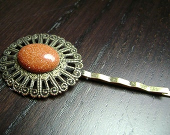 SALE !!! Antiqued Brass Filigree Bobby Pin with Brown Goldstone Cabochon