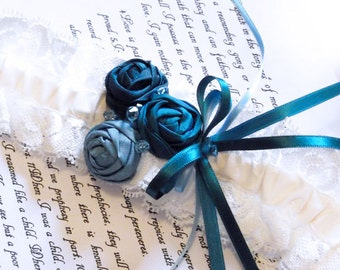 Blue Silk Lace Garter with Hand Rolled Silk Rosettes
