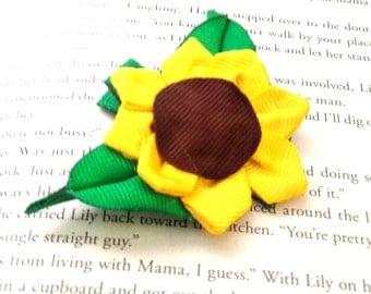 Mini Sunflower (Halloween/Fall) Hair Bow - Small Sunflower Hair Bow
