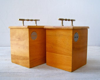 Vintage Cubic Jars, Sugar Coffee  Wood Canisters, Kitchen Storage Containers With Lid, Retro Rustic Kitchen Decor ,Wooden Box Set