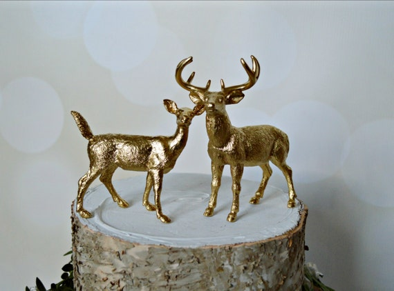 buck and doe wedding cake toppers gold deer wedding cake topper fall deer by morganthecreator 12203