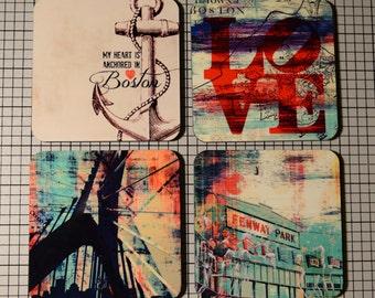 Coaster Set | Coaster Set. Boston Anchor Love Zakim Fenway | Set of 4 Cork Back | Options at Checkout