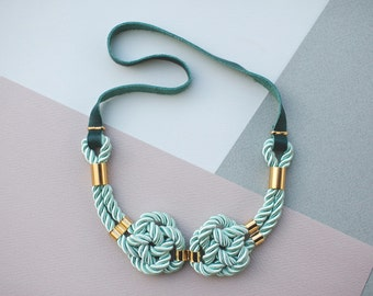 Mint Green Nautical Knot  Rope Necklace with leather cord and metal tube by pardes