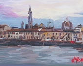 """Arno River (Florence Italy) - 12"""" x 8"""" - Original Acrylic Painting on Paper"""