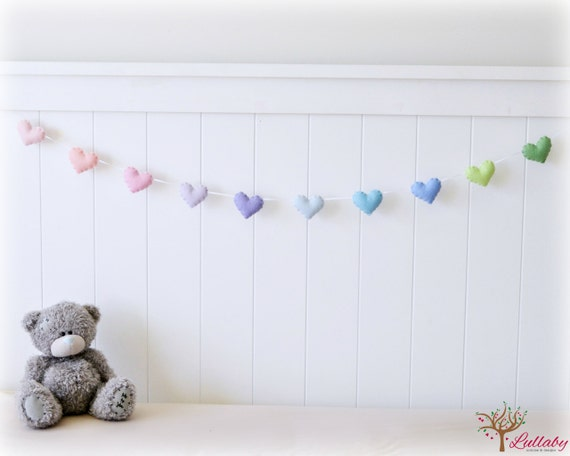 Pastel felt hearts banner/ garland/ bunting - nursery decor to match decor - MADE TO ORDER