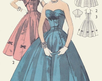 Vintage Evening Gown Dress & Bolero Sewing Pattern A115 Size 15