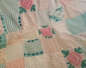 CUSTOM Made to Order - Vintage Chenille 'Aqua, Teal and Pink Floral' Quilt - Aqua, Dark Teal, White and Sweet Pink ~ Valentine ~ Pink Daisy