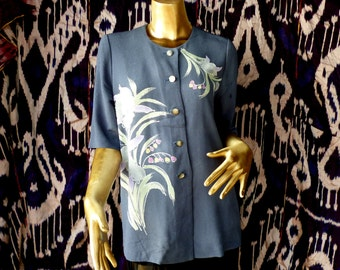 Vintage Kimono top in grey crepe with floral brush painting REDUCED